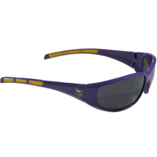 Minnesota Vikings Wrap Sunglasses - These sporty looking Minnesota Vikings Wrap Sunglasses have the Minnesota Vikings logo screen printed on both sides of the frames. The wrap sunglass arms feature rubber Minnesota Vikings colored accents. Look great in our Minnesota Vikings sports memorabilia while rooting for your favorite sports team. Officially licensed NFL product Licensee: Siskiyou Buckle .com