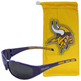 Minnesota Vikings Sunglass and Bag Set - Get our most popular Minnesota Vikings sunglasses with a matching microfiber bag carrying case. The wrap sunglasses are durable and fashionable with the maximum UVA/UBVB protection. The stylish bag is made of microfiber so it can also be used as a cleaning cloth. Officially licensed NFL product Licensee: Siskiyou Buckle .com