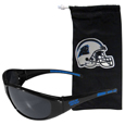 Carolina Panthers Sunglass and Bag Set - Get our most popular Carolina Panthers sunglasses with a matching microfiber bag carrying case. The wrap sunglasses are durable and fashionable with the maximum UVA/UBVB protection. The stylish bag is made of microfiber so it can also be used as a cleaning cloth. Officially licensed NFL product Licensee: Siskiyou Buckle Thank you for visiting CrazedOutSports.com