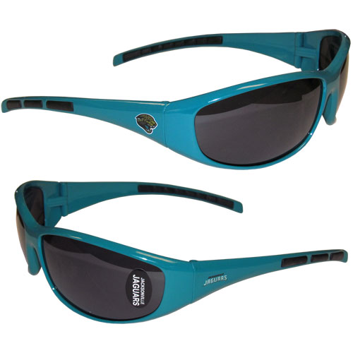 Jacksonville Jaguars Wrap Sunglasses - These sporty looking Jacksonville Jaguars Wrap Sunglasses have the Jacksonville Jaguars logo screen printed on both sides of the frames. The wrap sunglass arms feature rubber Jacksonville Jaguars colored accents. Look great in our Jacksonville Jaguars sports memorabilia while rooting for your favorite sports team. Officially licensed NFL product Licensee: Siskiyou Buckle Thank you for visiting CrazedOutSports.com