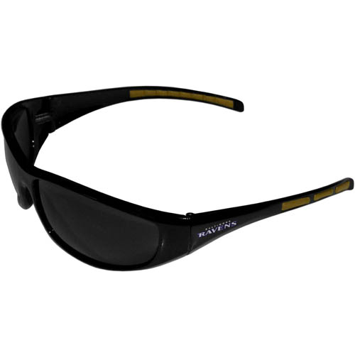 Baltimore Ravens Wrap Sunglasses - These sporty looking Baltimore Ravens Wrap Sunglasses have the Baltimore Ravens logo screen printed on both sides of the frames. The wrap sunglass arms feature rubber Baltimore Ravens colored accents. Look great in our Baltimore Ravens sports memorabilia while rooting for your favorite sports team. Officially licensed NFL product Licensee: Siskiyou Buckle .com