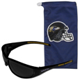 Baltimore Ravens Sunglass and Bag Set - Get our most popular Baltimore Ravens sunglasses with a matching microfiber bag carrying case. The wrap sunglasses are durable and fashionable with the maximum UVA/UBVB protection. The stylish bag is made of microfiber so it can also be used as a cleaning cloth. Officially licensed NFL product Licensee: Siskiyou Buckle .com