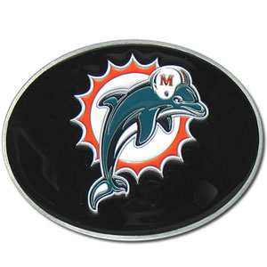 Miami Dolphins Logo Buckle - Officially licensed Miami Dolphins Logo Buckles feature a prominent Miami Dolphins logo with a hand enameled finish.  Officially licensed NFL product Licensee: Siskiyou Buckle .com