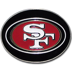 San Francisco 49ers Logo Buckle - Officially licensed San Francisco 49ers Logo Buckles feature a prominent San Francisco 49ers logo with a hand enameled finish. Officially licensed NFL product Licensee: Siskiyou Buckle .com