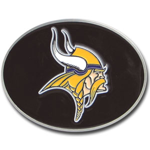 Minnesota Vikings Logo Buckle - Officially licensed Minnesota Vikings Logo Buckles feature a prominent Minnesota Vikings logo with a hand enameled finish.  Officially licensed NFL product Licensee: Siskiyou Buckle .com