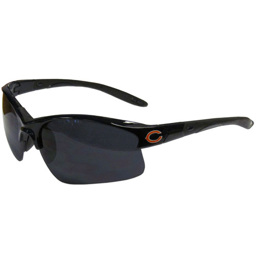 Chicago Bears Blade Sunglasses - Officially licensed blade sunglasses have the Chicago Bears screen printed on both sides of the frames. Look stylish wearing Chicago Bears sports memorabilia sunglasses with arms that feature rubber colored accents and UV400 protection. Officially licensed NFL product Licensee: Siskiyou Buckle .com