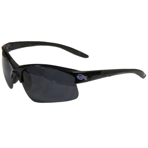 Buffalo Bills Blade Sunglasses - Officially licensed Buffalo Bills blade sunglasses have the Buffalo Bills screen printed on both sides of the frames. Look stylish wearing Buffalo Bills sports memorabilia sunglasses with arms that feature rubber colored accents and UV400 protection. Officially licensed NFL product Licensee: Siskiyou Buckle .com