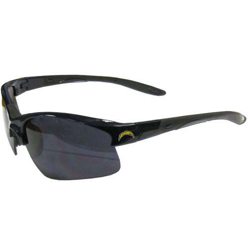 Los Angeles Chargers Blade Sunglasses - Officially licensed Los Angeles Chargers blade sunglasses have the Los Angeles Chargers screen printed on both sides of the frames. Look stylish wearing Los Angeles Chargers sports memorabilia sunglasses with arms that feature rubber colored accents and UV400 protection. Officially licensed NFL product Licensee: Siskiyou Buckle .com