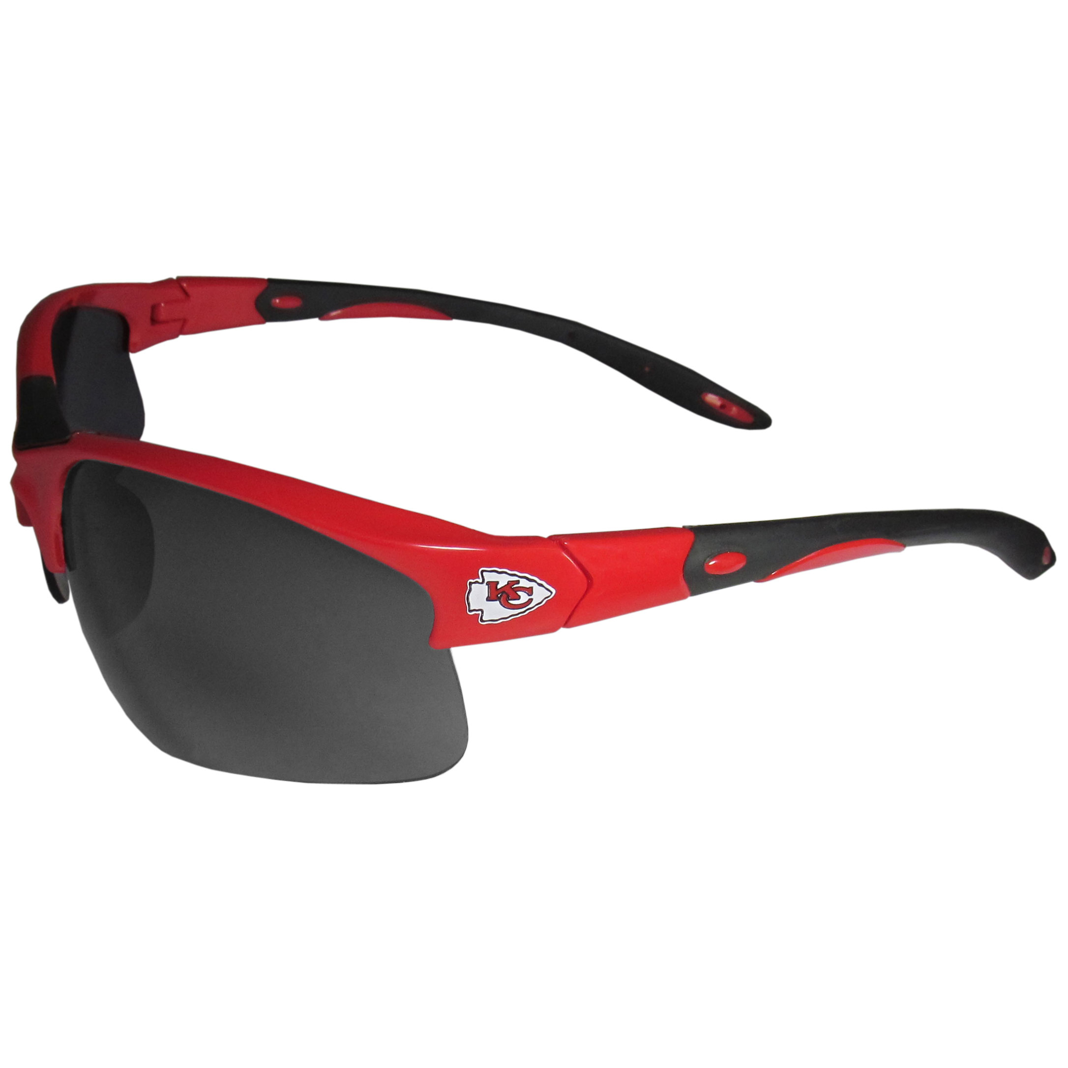 Kansas City Chiefs Blade Sunglasses - Our blade sunglasses are the team logo screen printed on one side of the frames and the Kansas City Chiefs logo on the other side of the frames. The sunglass arms feature team colored rubber sport grips and flex hinges for comfort and durability. Maximum UV400 protection.