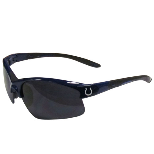 Indianapolis Colts Blade Sunglasses - Officially licensed Indianapolis Colts blade sunglasses have the Indianapolis Colts screen printed on both sides of the frames. Look stylish wearing Indianapolis Colts sports memorabilia sunglasses with arms that feature rubber colored accents and UV400 protection. Officially licensed NFL product Licensee: Siskiyou Buckle Thank you for visiting CrazedOutSports.com