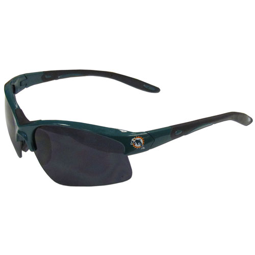 Miami Dolphins Blade Sunglasses - Officially licensed Miami Dolphins blade sunglasses have the Miami Dolphins screen printed on both sides of the frames. Look stylish wearing Miami Dolphins sports memorabilia sunglasses with arms that feature rubber colored accents and UV400 protection. Officially licensed NFL product Licensee: Siskiyou Buckle Thank you for visiting CrazedOutSports.com