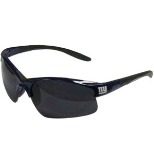 New York Giants Blade Sunglasses - Officially licensed New York Giants blade sunglasses have the New York Giants logo screen printed on both sides of the frames. Look stylish wearing New York Giants sports memorabilia sunglasses with arms that feature rubber colored accents and UV400 protection. Officially licensed NFL product Licensee: Siskiyou Buckle .com