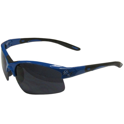 Detroit Lions Blade Sunglasses - Officially licensed Detroit Lions blade sunglasses have the Detroit Lions logo screen printed on both sides of the frames. Look stylish wearing Detroit Lions sports memorabilia sunglasses with arms that feature rubber colored accents and UV400 protection. Officially licensed NFL product Licensee: Siskiyou Buckle .com