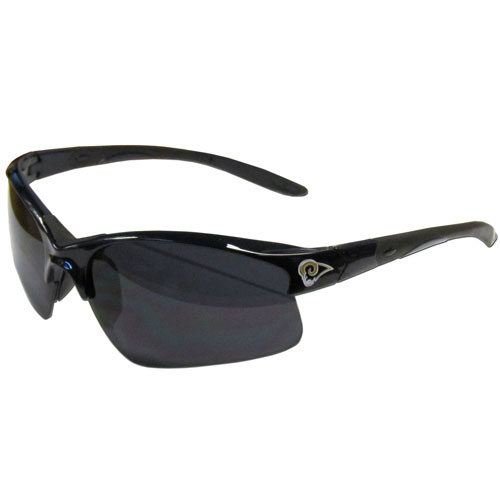 Los Angeles Rams Blade Sunglasses - Officially licensed Los Angeles Rams blade sunglasses have the Los Angeles Rams logo screen printed on both sides of the frames. Look stylish wearing Los Angeles Rams sports memorabilia sunglasses with arms that feature rubber colored accents and UV400 protection. Officially licensed NFL product Licensee: Siskiyou Buckle .com