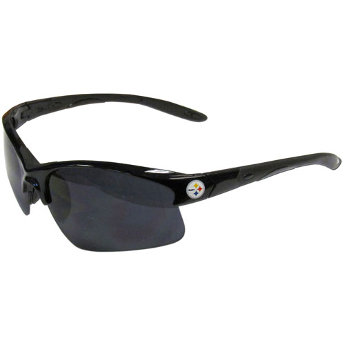 Pittsburgh Steelers Blade Sunglasses - Officially licensed Pittsburgh Steelers blade sunglasses have the Pittsburgh Steelers logo screen printed on both sides of the frames. Look stylish wearing Pittsburgh Steelers sports memorabilia glasses with arms that feature rubber colored accents and UV400 protection. Officially licensed NFL product Licensee: Siskiyou Buckle .com