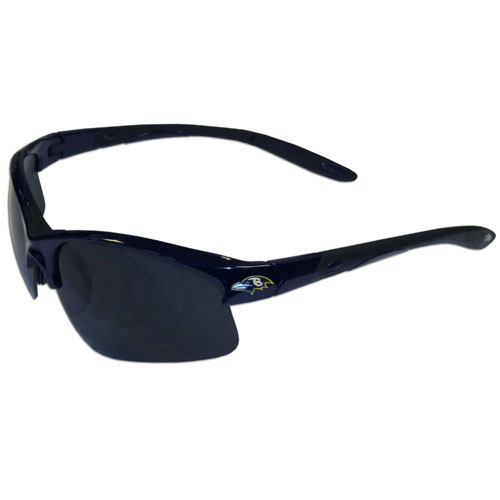 Baltimore Ravens Blade Sunglasses - Officially licensed Baltimore Ravens blade sunglasses have the Baltimore Ravens logo screen printed on both sides of the frames. Look stylish wearing Baltimore Ravens sports memorabilia sunglasses with arms that feature rubber colored accents and UV400 protection. Officially licensed NFL product Licensee: Siskiyou Buckle .com
