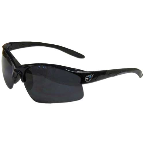 Tennessee Titans Blade Sunglasses - Officially licensed Tennessee Titans blade sunglasses have the Tennessee Titans logo screen printed on both sides of the frames. Look stylish wearing Tennessee Titans sports memorabilia sunglasses with arms that feature rubber colored accents and UV400 protection. Officially licensed NFL product Licensee: Siskiyou Buckle .com
