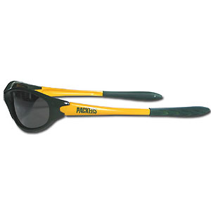 Green Bay Packers Team Sunglasses - These sporty looking Green Bay Packers Team sunglasses have the Green Bay Packers logo screen printed both sides of the frames. The Green Bay Packers team sunglass arms feature rubber Green Bay Packers colored accents.  Look great in Green Bay Packers sports memorabilia while rooting for your favorite sports team. Officially licensed NFL product Licensee: Siskiyou Buckle .com