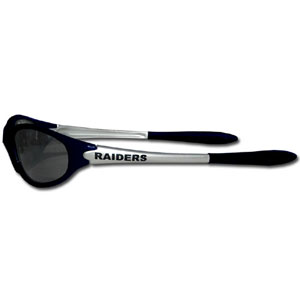 Oakland Raiders Team Sunglasses - These sporty looking Oakland Raiders Team sunglasses have the Oakland Raiders logo screen printed both sides of the frames. The Oakland Raiders team sunglass arms feature rubber Oakland Raiders colored accents.  Look great in Oakland Raiders sports memorabilia while rooting for your favorite sports team. Officially licensed NFL product Licensee: Siskiyou Buckle .com