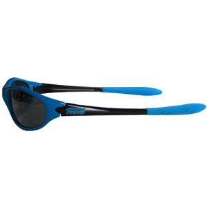 Carolina Panthers Team Sunglasses - These sporty looking Carolina Panthers Team sunglasses have the Carolina Panthers logo screen printed both sides of the frames. The Carolina Panthers team sunglass arms feature rubber Carolina Panthers colored accents. Look great in Carolina Panthers sports memorabilia while rooting for your favorite sports team. Officially licensed NFL product Licensee: Siskiyou Buckle .com
