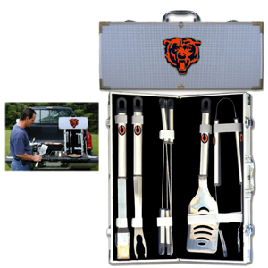 "Chicago Bears 8 pc BBQ Set - Officially licensed Chicago Bears 8 pc BBQ Set includes a spatula with knife edge, grill fork, tongs, basting brush and 4 skewers. The tools are approximately 19"" long and have sturdy stainless steel handles. The aluminum carrying case features a metal carved Chicago Bears emblem with enameled finish. Officially licensed NFL product Licensee: Siskiyou Buckle .com"