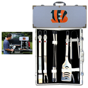 "Cincinnati Bengals 8 pc BBQ Set - Officially licensed Cincinnati Bengals 8 pc BBQ Set includes a spatula with knife edge, grill fork, tongs, basting brush and 4 skewers. The tools are approximately 19"" long and have sturdy stainless steel handles. The aluminum carrying case features a metal carved Cincinnati Bengals emblem with enameled finish. Officially licensed NFL product Licensee: Siskiyou Buckle .com"