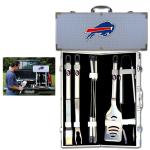 "Buffalo Bills 8 pc BBQ Set - Officially licensed Buffalo Bills 8 pc BBQ Set includes a spatula with knife edge, grill fork, tongs, basting brush and 4 skewers. The tools are approximately 19"" long and have sturdy stainless steel handles. The aluminum carrying case features a metal carved Buffalo Bills emblem with enameled finish. Officially licensed NFL product Licensee: Siskiyou Buckle .com"