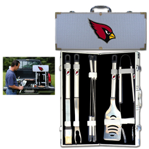 "Arizona Cardinals 8 pc BBQ Set - Officially licensed Arizona Cardinals 8 pc BBQ Set includes a spatula with knife edge, grill fork, tongs, basting brush and 4 skewers. The tools are approximately 19"" long and have sturdy stainless steel handles. The aluminum carrying case features a metal carved Arizona Cardinals emblem with enameled finish. Officially licensed NFL product Licensee: Siskiyou Buckle .com"