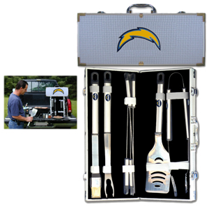 "Los Angeles Chargers 8 pc BBQ Set - Officially licensed Los Angeles Chargers 8 pc BBQ Set includes a spatula with knife edge, grill fork, tongs, basting brush and 4 skewers. The tools are approximately 19"" long and have sturdy stainless steel handles. The aluminum carrying case features a metal carved Los Angeles Chargers emblem with enameled finish. Officially licensed NFL product Licensee: Siskiyou Buckle .com"