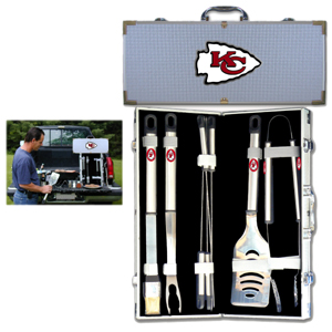 "Kansas City Chiefs 8 pc BBQ Set - Officially licensed Kansas City Chiefs 8 pc BBQ Set includes a spatula with knife edge, grill fork, tongs, basting brush and 4 skewers. The tools are approximately 19"" long and have sturdy stainless steel handles. The aluminum carrying case features a metal carved Kansas City Chiefs emblem with enameled finish. Officially licensed NFL product Licensee: Siskiyou Buckle Thank you for visiting CrazedOutSports.com"