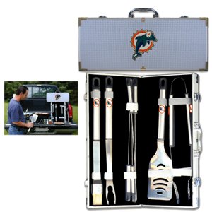 "Miami Dolphins 8 pc BBQ Set - Officially licensed Miami Dolphins 8 pc BBQ Set includes a spatula with knife edge, grill fork, tongs, basting brush and 4 skewers. The tools are approximately 19"" long and have sturdy stainless steel handles. The aluminum carrying case features a metal carved Miami Dolphins emblem with enameled finish. Officially licensed NFL product Licensee: Siskiyou Buckle .com"