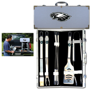 "Philadelphia Eagles 8 pc BBQ Set - Officially licensed Philadelphia Eagles 8 pc BBQ Set includes a spatula with knife edge, grill fork, tongs, basting brush and 4 skewers. The tools are approximately 19"" long and have sturdy stainless steel handles. The aluminum carrying case features a metal carved Philadelphia Eagles emblem with enameled finish. Officially licensed NFL product Licensee: Siskiyou Buckle .com"