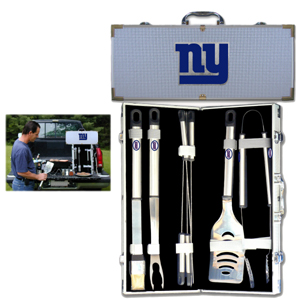 "New York Giants 8 pc BBQ Set - Officially licensed New York Giants 8 pc BBQ Set includes a spatula with knife edge, grill fork, tongs, basting brush and 4 skewers. The tools are approximately 19"" long and have sturdy stainless steel handles. The aluminum carrying case features a metal carved New York Giants emblem with enameled finish. Officially licensed NFL product Licensee: Siskiyou Buckle Thank you for visiting CrazedOutSports.com"