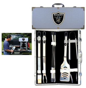 "Oakland Raiders 8 pc BBQ Set - Officially licensed Oakland Raiders 8 pc BBQ Set includes a spatula with knife edge, grill fork, tongs, basting brush and 4 skewers. The tools are approximately 19"" long and have sturdy stainless steel handles. The aluminum carrying case features a metal carved Oakland Raiders emblem with enameled finish. Officially licensed NFL product Licensee: Siskiyou Buckle Thank you for visiting CrazedOutSports.com"