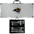 Los Angeles Rams 8 pc Stainless Steel BBQ Set w/Metal Case