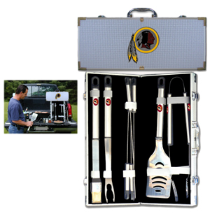 "Washington Redskins 8 pc BBQ Set - Officially licensed Washington Redskins 8 pc BBQ Set includes a spatula with knife edge, grill fork, tongs, basting brush and 4 skewers. The tools are approximately 19"" long and have sturdy stainless steel handles. The aluminum carrying case features a metal carved Washington Redskins emblem with enameled finish. Officially licensed NFL product Licensee: Siskiyou Buckle Thank you for visiting CrazedOutSports.com"