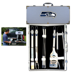 "Seattle Seahawks 8 pc BBQ Set - Officially licensed Seattle Seahawks 8 pc BBQ Set includes a spatula with knife edge, grill fork, tongs, basting brush and 4 skewers. The tools are approximately 19"" long and have sturdy stainless steel handles. The aluminum carrying case features a metal carved Seattle Seahawks emblem with enameled finish. Officially licensed NFL product Licensee: Siskiyou Buckle Thank you for visiting CrazedOutSports.com"