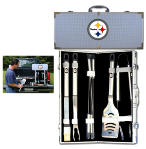 "Pittsburgh Steelers 8 pc BBQ Set  - Officially licensed Pittsburgh Steelers 8 pc BBQ Set includes a spatula with knife edge, grill fork, tongs, basting brush and 4 skewers. The tools are approximately 19"" long and have sturdy stainless steel handles. The aluminum carrying case features a metal carved Pittsburgh Steelers emblem with enameled finish. Officially licensed NFL product Licensee: Siskiyou Buckle .com"