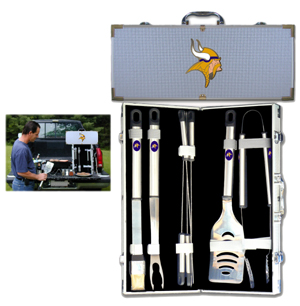 "Minnesota Vikings 8 pc BBQ Set  - Officially licensed Minnesota Vikings includes a spatula with knife edge, grill fork, tongs, basting brush and 4 skewers. The tools are approximately 19"" long and have sturdy stainless steel handles. The aluminum carrying case features a metal carved Minnesota Vikings emblem with enameled finish. Officially licensed NFL product Licensee: Siskiyou Buckle .com"