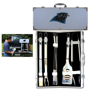 "Carolina Panthers 8 pc BBQ Set - Officially licensed Carolina Panthers 8 pc BBQ Set includes a spatula with knife edge, grill fork, tongs, basting brush and 4 skewers. The tools are approximately 19"" long and have sturdy stainless steel handles. The aluminum carrying case features a metal carved Carolina Panthers emblem with enameled finish. Officially licensed NFL product Licensee: Siskiyou Buckle Thank you for visiting CrazedOutSports.com"