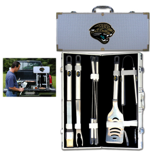 "Jacksonville Jaguars 8 pc BBQ Set - Officially licensed Jacksonville Jaguars 8 pc BBQ Set includes a spatula with knife edge, grill fork, tongs, basting brush and 4 skewers. The tools are approximately 19"" long and have sturdy stainless steel handles. The aluminum carrying case features a metal carved Jacksonville Jaguars emblem with enameled finish. Officially licensed NFL product Licensee: Siskiyou Buckle Thank you for visiting CrazedOutSports.com"