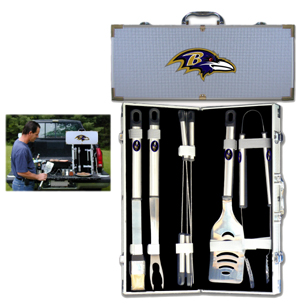 "Baltimore Ravens 8 pc BBQ Set - Officially licensed Baltimore Ravens 8 pc BBQ Set includes a spatula with knife edge, grill fork, tongs, basting brush and 4 skewers. The tools are approximately 19"" long and have sturdy stainless steel handles. The aluminum carrying case features a metal carved Baltimore Ravens emblem with enameled finish. Officially licensed NFL product Licensee: Siskiyou Buckle Thank you for visiting CrazedOutSports.com"