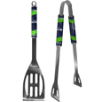 Seattle Seahawks 2 pc. Steel BBQ Tool Set - This Seattle Seahawks stainless steel 2 pc. BBQ set is a tailgater's best friend. The colorful and large Seattle Seahawks graphics let's everyone know you are a fan! The Seattle Seahawks stainless steel 2 pc. BBQ set includes a spatula and tongs with the Seattle Seahawks proudly display on each tool. Officially licensed NFL product Licensee: Siskiyou Buckle .com