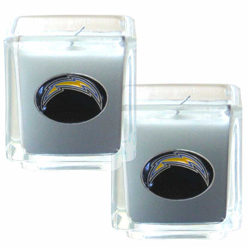 "Los Angeles Chargers NFL Candle Set (2) - This sports memorabilia Los Angeles Chargers Candle Set includes two 2"" x 2"" vanilla scented candles featuring a metal square with a hand enameled Los Angeles Chargers emblem. Officially licensed NFL product Licensee: Siskiyou Buckle .com"