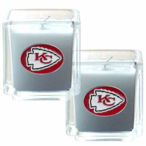 "Kansas City Chiefs NFL Candle Set (2) - This sports memorabilia Kansas City Chiefs Candle Set includes two 2"" x 2"" vanilla scented candles featuring a metal square with a hand enameled Kansas City Chiefs emblem. Officially licensed NFL product Licensee: Siskiyou Buckle Thank you for visiting CrazedOutSports.com"