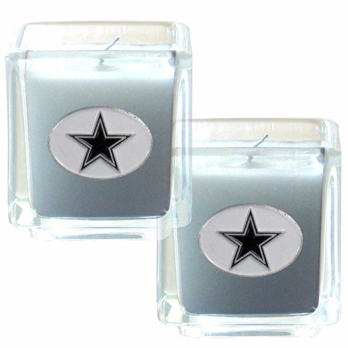 "Dallas Cowboys NFL Candle Set (2) - This sports Memorabilia Dallas Cowboys Candle Set includes two 2"" x 2"" vanilla scented candles featuring a metal square with a hand enameled Dallas Cowboys emblem. Officially licensed NFL product Licensee: Siskiyou Buckle Thank you for visiting CrazedOutSports.com"