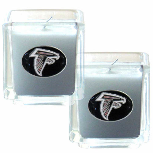 "Atlanta Falcons NFL Candle Set (2)  - This sports memorabilia Atlanta Falcons Candle Set includes two 2"" x 2"" vanilla scented candles featuring a metal square with a hand enameled Atlanta Falcons emblem. Officially licensed NFL product Licensee: Siskiyou Buckle .com"