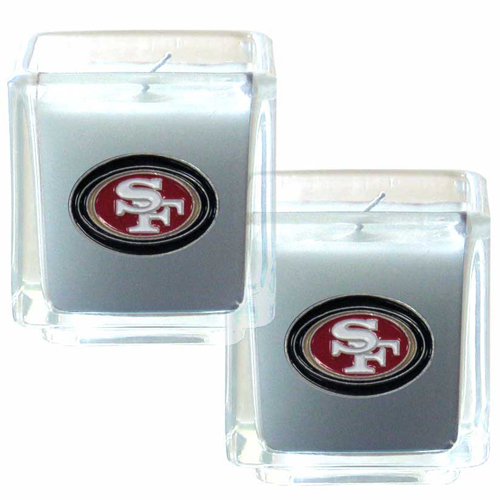 "San Francisco 49ers NFL Candle Set (2)  - This sports memorabilia San Francisco 49ers Candle Set includes two 2"" x 2"" vanilla scented candles featuring a metal square with a hand enameled San Francisco 49ers emblem. Officially licensed NFL product Licensee: Siskiyou Buckle .com"