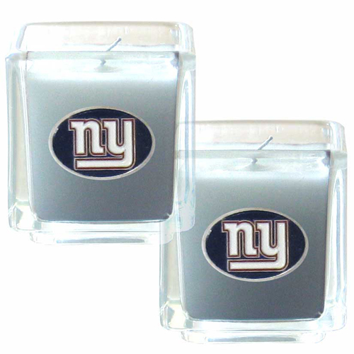 "New York Giants NFL Candle Set (2)  - This sports memorabilia New York Giants Candle Set includes two 2"" x 2"" vanilla scented candles featuring a metal square with a hand enameled New York Giants emblem. Officially licensed NFL product Licensee: Siskiyou Buckle .com"