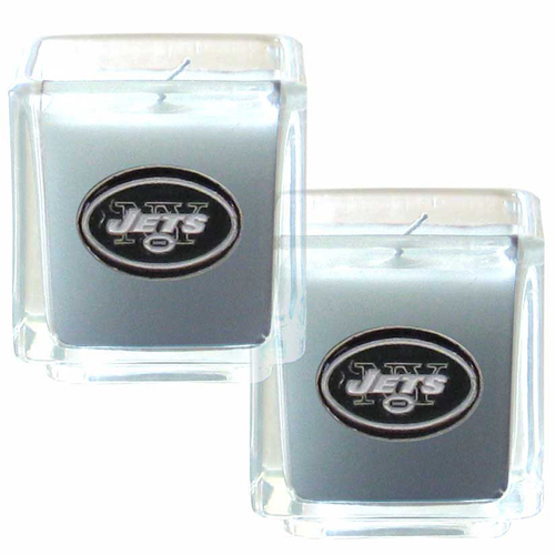 "New York Jets NFL Candle Set (2) - This sports memorabilia New York Jets Candle Set includes two 2"" x 2"" vanilla scented candles featuring a metal square with a hand enameled New York Jets emblem. Officially licensed NFL product Licensee: Siskiyou Buckle Thank you for visiting CrazedOutSports.com"